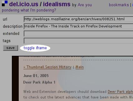 screen shot showing iframe link